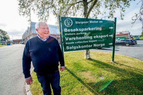 Kan smile bredt: Etter 40 år som daglig leder av Sleipner Motor AS er Arne Skauen svært glad for rekordtall i fjor.
