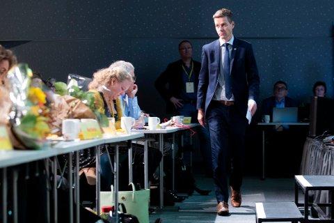 Partileder Knut Arild Hareide under KrFs ekstraordinære landsmøte på Gardermoen fredag. Foto: Håkon Mosvold Larsen / NTB scanpix
