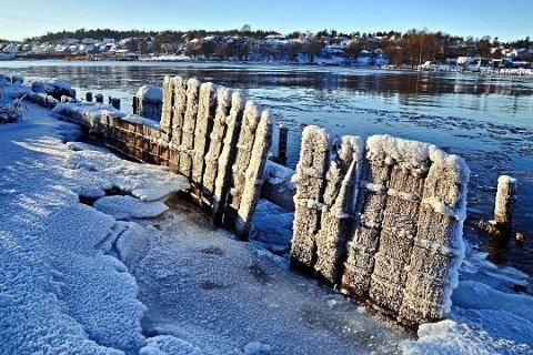 Det er iskaldt i Fredrikstad denne uken, men heldigvis varmer sola noe på dagtid.