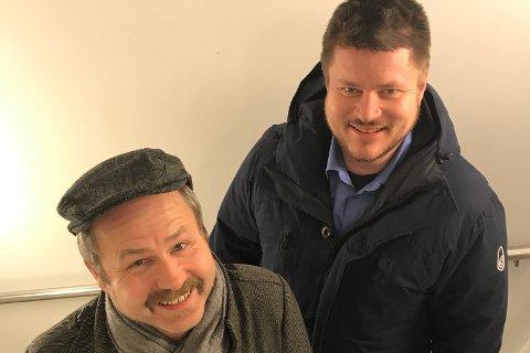 Lars Erik Edvardsen (bak) og Hans Norman Fredheim prøver nå å tromme sammen årets utgave av Blomsterøya 17. maikorps.