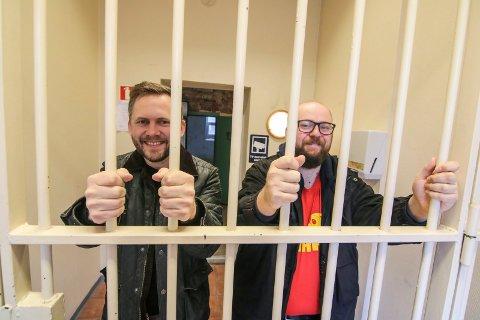Åpner snart: Oddbjørn Sjögren (til venstre) og Johannes Lindrupsen gleder seg til å få i gang Escape Room i Gamlebyens tomme fengsel.