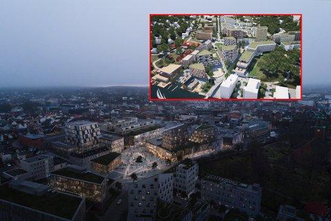 Mer handel: Samtidig som Værste AS skal bygge ut rundt 30.000 kvadratmeter handel på Værste (innfelt) planlegger Torvbyen en like stor utbygging i andre enden av sentrum.