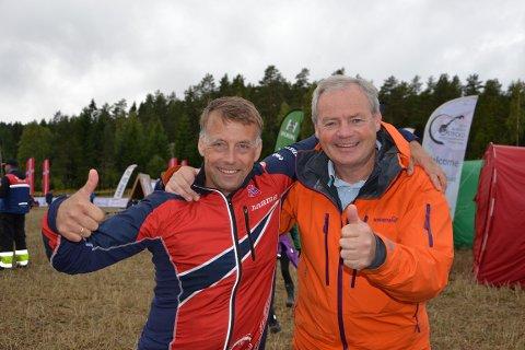 O-forbundets generalsekretær, Lasse Arnesen (t.v.) og VM 2019s daglige leder, Per Bergerud, ser spent frem til helgens prøve-VM.