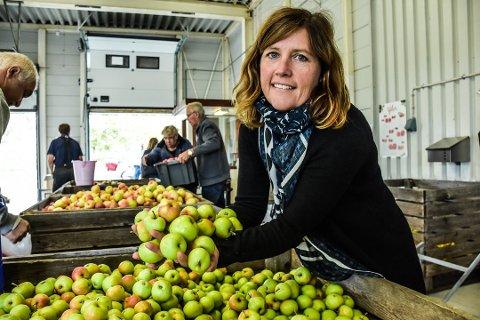 Travel. Astrid Lier Rømuld, daglig leder ved Askim Frukt og Bærpresseri, har nok å henge fingrene i om dagen.