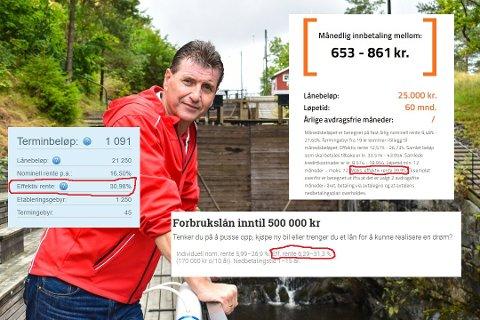 Knallhardt oppgjør: Stein Erik Lauvås (Ap) hevder flere tilbydere av forbrukslån gjør seg rike på andres elendighet. Han mener effektive renter på over 30 prosent bør forbys. Innfelt er ulike banker som tilbyr lån med høye renter.
