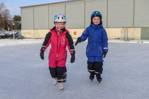 NØT VINTEREN: Håkon Magnus og Sunniva Johannessen (begge 6) fra Gressvik var ikke akkurat alene om å nyte vinteren på lørdag. Over hele distriktet gikk folk på skøyter og koste seg med aking.