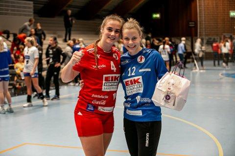 SMILTE BREDT: Hanne Sagvold (til høyre) og Thale Rushfeldt Deila smilte bredt etter den dramatiske avslutningen mot Tertnes.