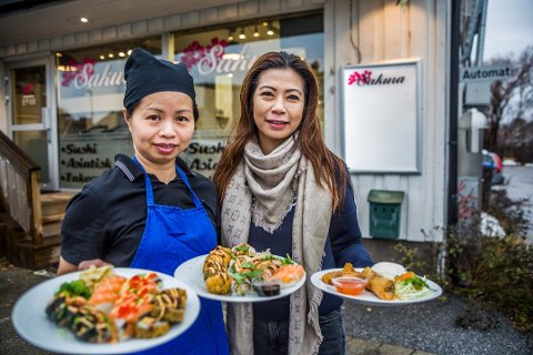 Én måned siden åpningen: Slik så det ut da Trang Nguyen og Celine Laxå etablerte den nye utfordreren i byens sushi-marked.