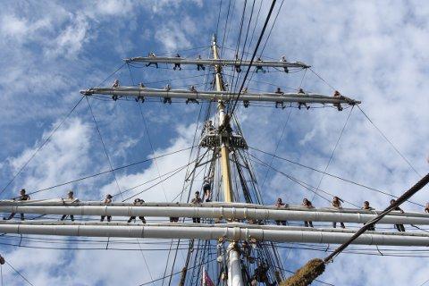Det er frivillige som klatrer i mastene ombord på seilskutene.