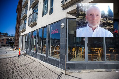 Får uteplasser: Det tidligere pizzautsalget ved Dampskipsbrygga skal bli restaurant. Daglig leder Sverre Solstrand (innfelt) fikk enstemmig ja fra formannskapet også til uteservering.  Foto: Felix Ellingsrud