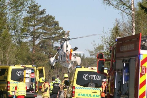 Færre ulykker: Antallet trafikkulykker på norske veier har gått ned fra 8.724 i 2002 til 3.405 i 2018. I Østfold er det i dag fylkesveiene som er mest ulykesutsatt. Her fra en trafikkulykke ved fylkesvei 599 i fjor.