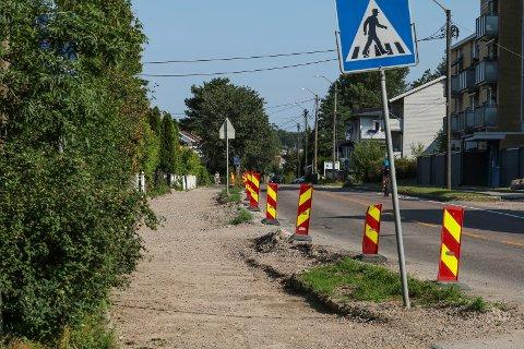 Snart ferdig: Arbeidene i Veumveien vil trolig være avsluttet i august måned.