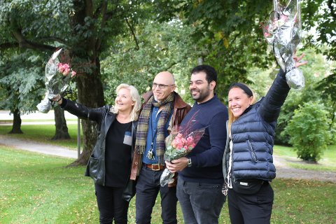 Ann Britt Hansen (Østfold Scene), Espen Gresvik Shcei og Azad Al-Hesso (Glemmen Akropark) og Katja Hepsø (Dansekunst i Østfold) var storfornøyd med å ha fått tildelt midler fra kommunen.