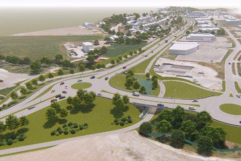 Frp sier nei: Bjørnar Laabak mener den foreslåtte utbyggingen av fylkesvei 109, inkludert ny sykkeltrasé, er altfor omfattende. Han vil ha en langt  rimeligere variant, uten bompenger.  (Illustrasjon: Statens vegvesen og Multiconsult)