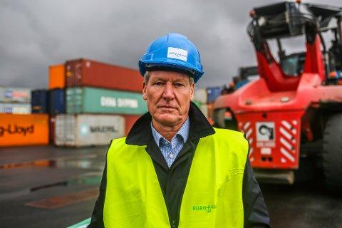 Trond Delbekk er styreleder i Borg Havn. Mandag åpnet han et nytt havneområde på fire mål, til 60 millioner kroner.