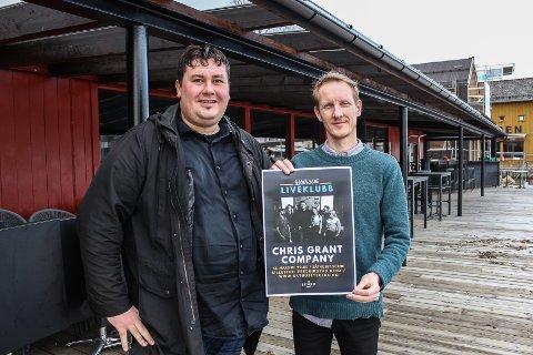 SATSER: Chris Grant (Chris Grant Company) (t.v.) og Mads Amundsen (Båthuset Scene) ser frem til å komme i gang med liveklubb på Båthuset. Amundsen satser på fem klubb-konserter i løpet av våren, og Chris Grant Company får være den første.