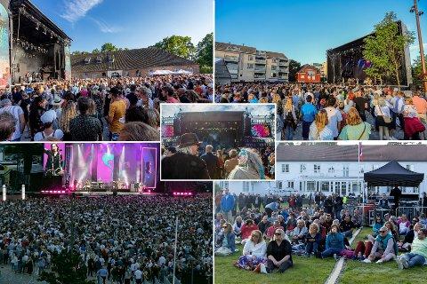 Flere store billettleverandører vil ikke gi pengene tilbake for avlyste arrangementer.  Forbrukerrådet er ikke enig.  Illustrasjonsbilder fra Månefestivalen, Glommafestivalen,  Gyllene Tider-konserten, SommerfestiHvaler på Hvaler Gjestgiveri og Idyllfestivalen.