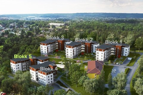 ØNSKET MODELL: I bakgrunnen ser vi Stjernehallen, hvor eiendomsutviklerne ønsker å bygge boliger i samme høyde som her er vist i tegningen for Åsebråten Park.  (Illustrasjon: Åsebråten Park/FB Arkiv)