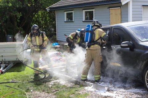 UTBRENT: Bilen var totalskadd etter brannen