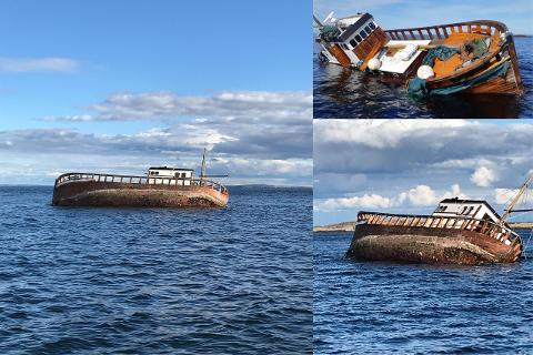 Den rundt 60 fot store skøyta har gått skikkelig på et undervannsskjær utenfor Tisler på Hvaler, og kjølen under båten er revet bort. Nå knuses den sakte, men sikkert i stykker og vil synke.