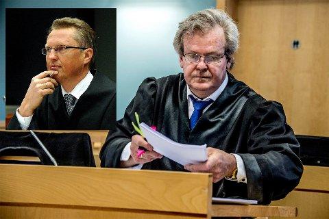 Det kan ta lang tid før vi får en dom i saken der en kvinne (70) er tiltalt for hærverk mot naboens bil. Nå skal nemlig lagmannrsretten avgjøre om videobeviset i saken i det hele tatt kan brukes.  På bildet ser vi forsvarer Per Bjørge Hansen (innfelt) og politiadvokat Nils Vegard.