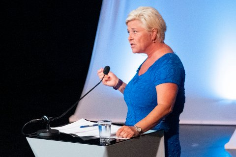 ARENDAL I SOMMER: Siv Jensen (FrP) i partilederdebatt under  Arendalsuka 2020. Foto: Tor Erik Schrøder / NTB