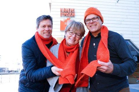 Per Christian Skauen (til venstre), Anne-Marie Kvarme og Lasse Imrik, alle tilknyttet Kirkens Bymisjon i Fredrikstad, er klare for aksjon mandag.