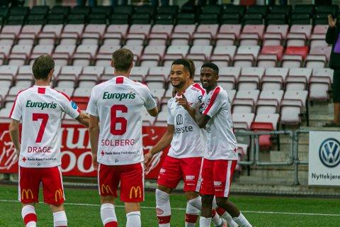 Thomas Drage (fra venstre), Nicolay Solberg, Riki Alba og Anas Farah Ali har alle kontrakt videre med FFK. De tre førstnevnte ut 2021, mens Anas har ut 2022.