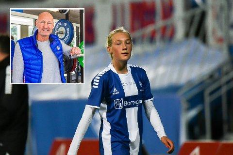Maja Martinsen har skrevet under en to-års kontrakt med Sarpsborg 08. Innfelt pappa Atle Martinsen.