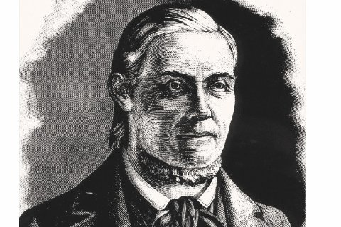 Hans Nielsen Hauge. Tegning av Joh. Nordhagen etter Fladmos byste.  Foto: Østfold fylkes bildearkiv