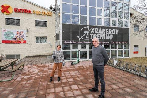 Siv Nyborg har drevet Kråkerøy Trening i flere år nå. Nå blir hun daglig leder når Sats åpner nytt senter i lokalene. Her sammen med eiendomsutvikler Bernt Sørlie.