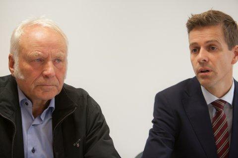 Tidligere statssekretær Forsvarsdepartementet Oddmund Heggheim sammen med partileder i Kristelig Folkeparti (KrF) Knut Arild Hareide da den forsvarspolitiske uttalelsen fra de tre fylkeslagene til KrF i Nord-Norge ble lagt fram på mandag.