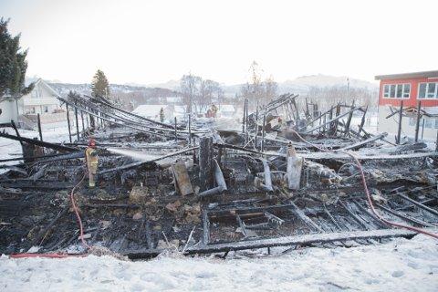 Ungdomsskolefløya på Liland skole etter brannen tirsdag 3. januar.