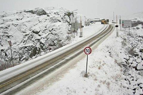 Skjermdump av Statens vegvesens webkamera på Bjørnfjell.