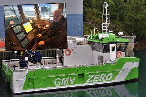Den batteridrevne røkterbåten «Astrid Helene». Arnold Hansen innfelt.