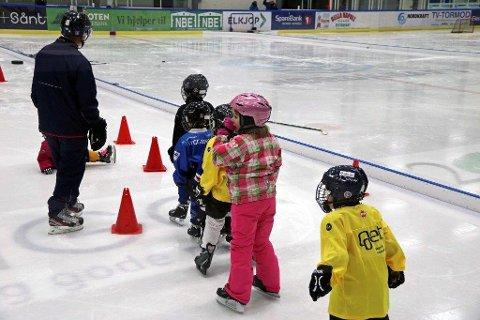 FÅR NY MIDLER: Nordkraft Arena (Narvik Spektrum Drift AS) får 75.000 kroner for å gi et tilbud om gratis ishall for barn. Dette bildet er fra Narvik ishockeyklubbs hockeyskole i vinter. Foto: Odd-Georg H. Benjaminsen