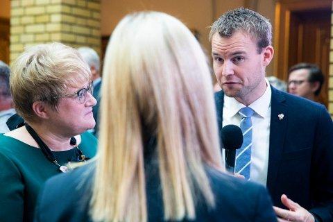 Både Trine Skei Grandes Venstre og Kjell Ingolf Ropstads KrF ligger under sperregrensa på denne målingen. Foto: HÅKON MOSVOLD LARSEN / NTB scanpix