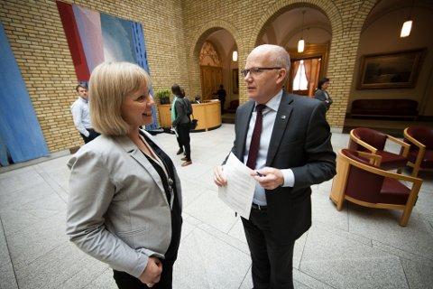 Hårek Elvenes (H) har bedt forsvarsminister Frank Bakke Jensen svare på uklarheter og påstander om Evenes. Elvenes sitter i Stortingets utenriks- og forsvarskomite, her i samtaler med Arbeiderpartiets Åsunn Lyngedal