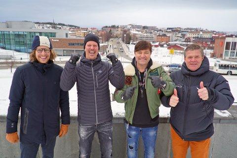 I FYR OG FLAMME: Thomas Haugom, Jan Fredrik Karlsen, Steinar Hjertholm og Erik Plener renner over av energi like før leveringsfesten braker løs.
