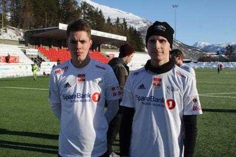 De to tidligere Mjølner-spillerne Artur Juchno (t v) og Daniel Gunevic er klubbløse etter en halv sesong i Sortland.