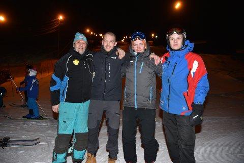 FAMILIE: Familien Øverland står på for Ankenes alpinklubb (fv) Pappa Jo Inge og sønnene Joakim, Christian og Fredrik.