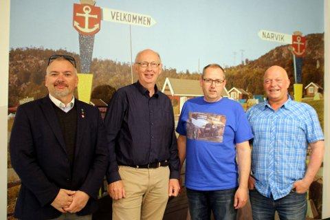 Velkommen: Modelltogentusiast Øivind Bakken og nyslått museumsbestyrer Ulf Ragnar Hanssen flankert av Lars Skjønnås og Rune Pettersen ønsker velkommen til åpen dag på Narviks nye museum lørdag. De to sistnevnte har vært viktige premissleverandører for konseptet.