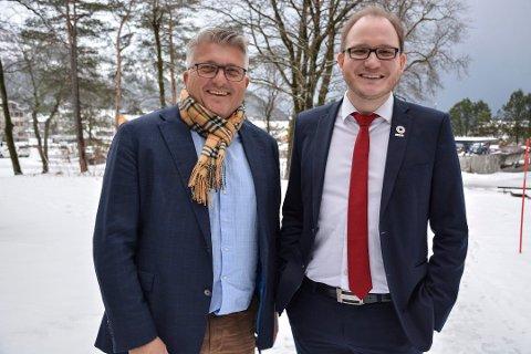 Styreleder Espen Haaland (til venstre) og regiondirektør Daniel Bjarmann-Simonsen i NHO Nordland.