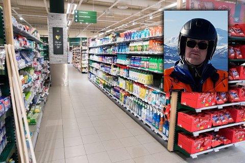 REAGERER: Eirik Sparboe Carolin forteller om forbedringspotensial etter å ha observert dagligvarebutikker i Narvik.