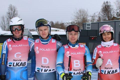 Viktige brikker: Å være prøvekjørere i VM-sirkuset er en flott sjanse til å være del av noe stort. Og å kunne bidra til norsk suksess.  Håkon Smith Hansen (20), Oliver Stokkedal (18), Oddbjørn Hjellbakk (17) og Nora Hall (16) var alle i aksjon som prøvekjørere i forkant av treningsomgangene i utfor fredag. De fire som tar idrettsfag alpint I Narvik, og kjører for lokale klubber, kjenner fjellet ut og inn – absolutt ingen ulempe for å bedømme forholdene.