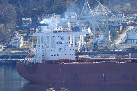 MYE RØYK: Flere har reagert på at skipet «Berge Kosciuszko»  slipper ut mye røyk. Havneagent Øystein Jensen i North Martime beroliger og sier utslippet er helt ufarlig. Eksosen fra skipet blir nemlig renset, og det meste man ser er vanndamp.