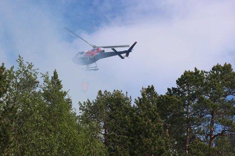 BRANN: Det brant heftig etter at ild kom ut av kontroll i Skjomen lørdag 6. juni.