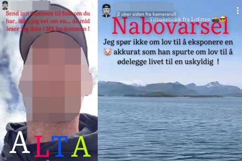 PÅ RUNDREISE: En mann som representerer MGO Nabovarsel, som igjen er tilknyttet Mannegruppa Ottar, er i Alta.