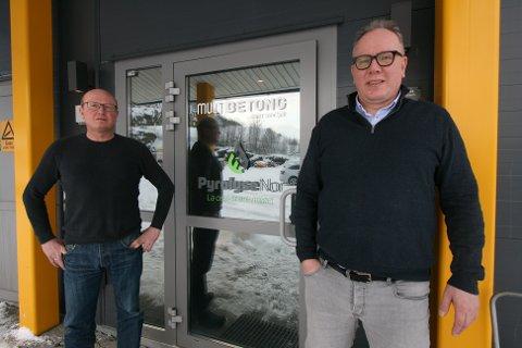 GJENVINNING: Håvard Hjallar og Espen Knutsen i selskapet Pyrolysenor satte i gang prosessen som endte med at Teco 2030 etablerer seg i Narvik. Nå jobber de med å få til et innovasjonssamarbeid og etablere et kompetansemiljø både innen hydrogen og gjenvinning i Narvik.