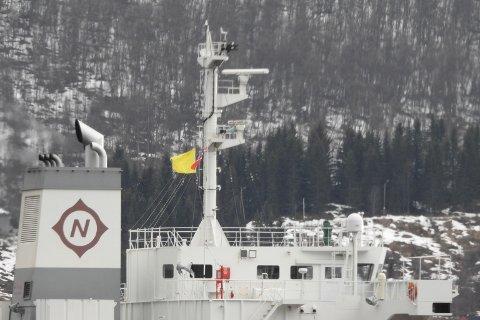 HEISTE GULT FLAGG: Malmskipet «Pebble Beach» heiste gult flagg etter å ha blitt satt i karantene.
